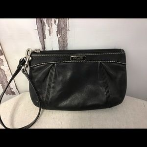 Coach Black Leather Pleated Wristlet